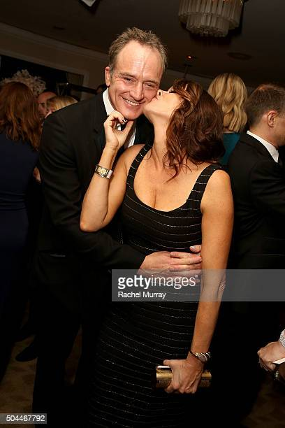 Actors Bradley Whitford and Amy Landecker attend Amazon's Golden Globe Awards Celebration at The Beverly Hilton Hotel on January 10 2016 in Beverly...