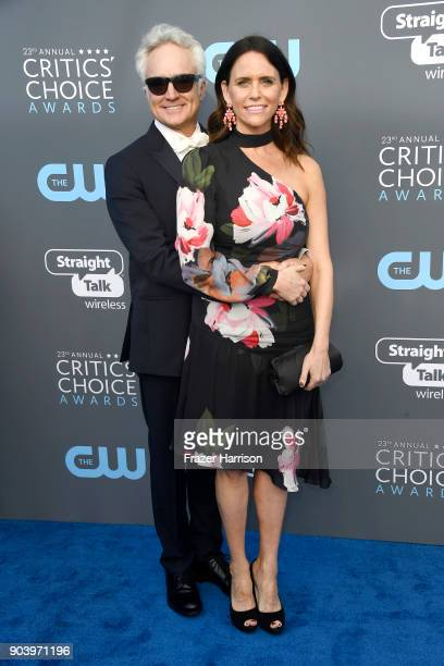 Actors Bradley Whitford and Amy Landecker attend The 23rd Annual Critics' Choice Awards at Barker Hangar on January 11 2018 in Santa Monica California