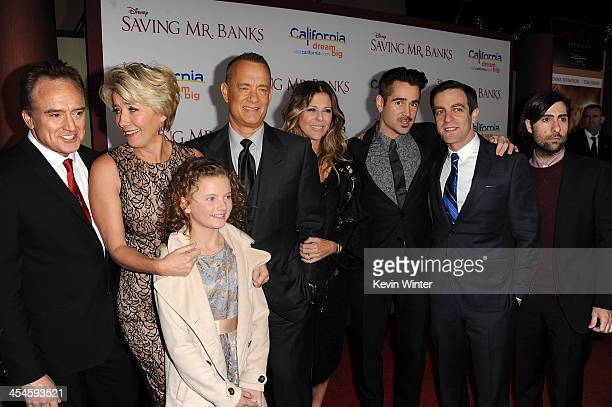 Actors Bradley Whitford Emma Thompson Annie Rose Buckley Tom Hanks Rita Wilson Colin Farrell BJ Novak and Jason Schwartzman attend the US premiere of...