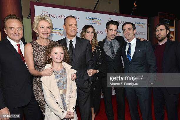 Actors Bradley Whitfrod Emma Thompson Annie Rose Buckley Tom Hanks Rita Wilson Colin Farrell BJ Novak and Jason Schwartzman attend the US Premiere Of...