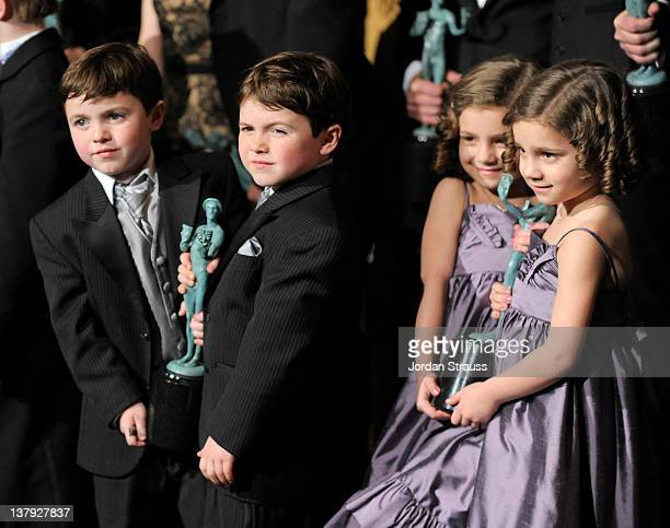 Actors Brady Noon Connor Noon Josie Gallina and Lucy Gallina Winners for Ensemble in a Drama Series Boardwalk Empire attend The 18th Annual Screen...