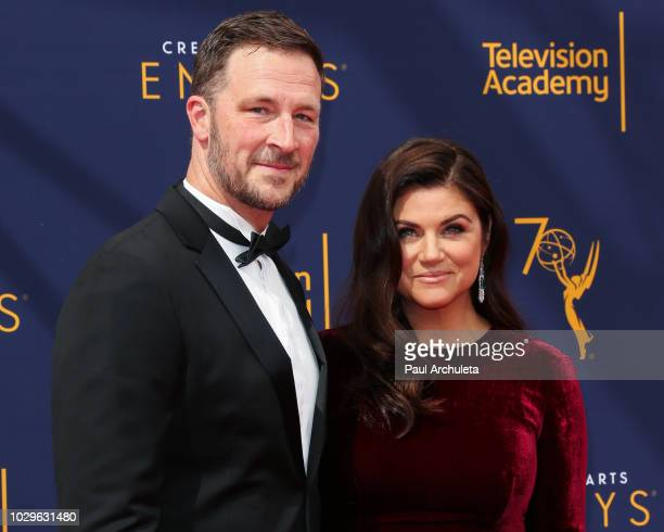 Actors Brady Smith and Tiffani Thiessen attend the 2018 Creative Arts Emmy Awards Day 1 at Microsoft Theater on September 8 2018 in Los Angeles...