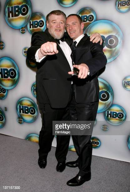 Actors Brandan Gleeson and Michael Fassbender arrive at HBO's Official After Party for the 69th Annual Golden Globe Awards held at The Beverly Hilton...