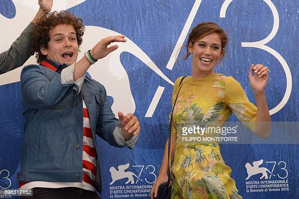 Actors Brando Pacitto and Matilda Lutz jump during a photocall of the movie L'Estate Addosso presented out of competition at the 73rd Venice Film...