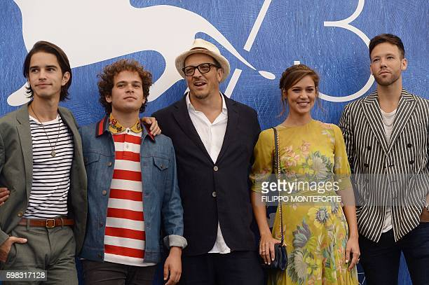 Actors Brando Pacitto Matilda Lutz Taylor Frey and Joseph Haro pose during a photocall of the movie L'Estate Addosso presented out of competition at...