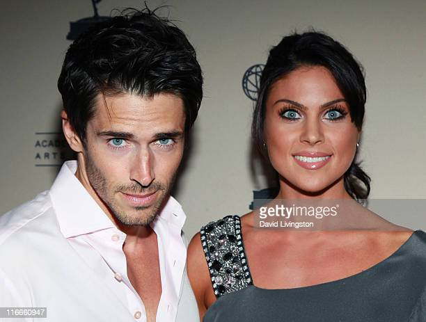 Actors Brandon Beemer and Nadia Bjorlin attend the 2011 Daytime Emmy Awards nominees cocktail reception at SLS Hotel Beverly Hills on June 16 2011 in...
