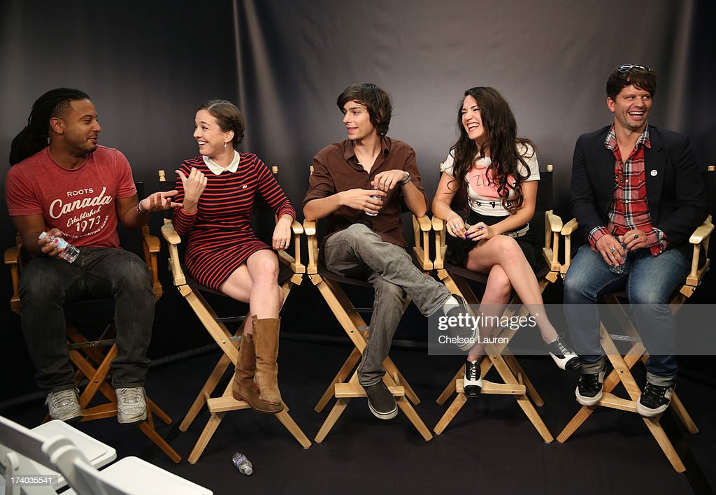Actors Brandon Jay McLaren, Martha MacIsaac, Devon Bostick, director/actress April Mullen, and writer Tim Doiron attend the 'Dead Before Dawn 3D' at the Movies On Demand Lounge during Comic-Con International 2013 at Hard Rock Hotel San Diego on July 19, 2013 in San Diego, California.