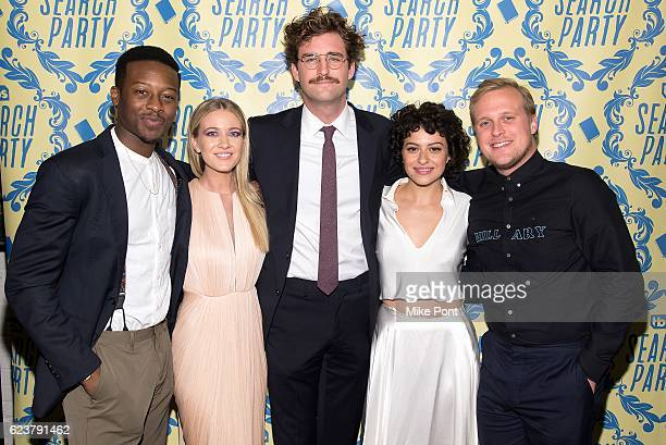 Actors Brandon Micheal Hall Meredith Hagner John Reynolds Alia Shawkat and John Early attend the 'Search Party' Premiere Party at Metrograph on...