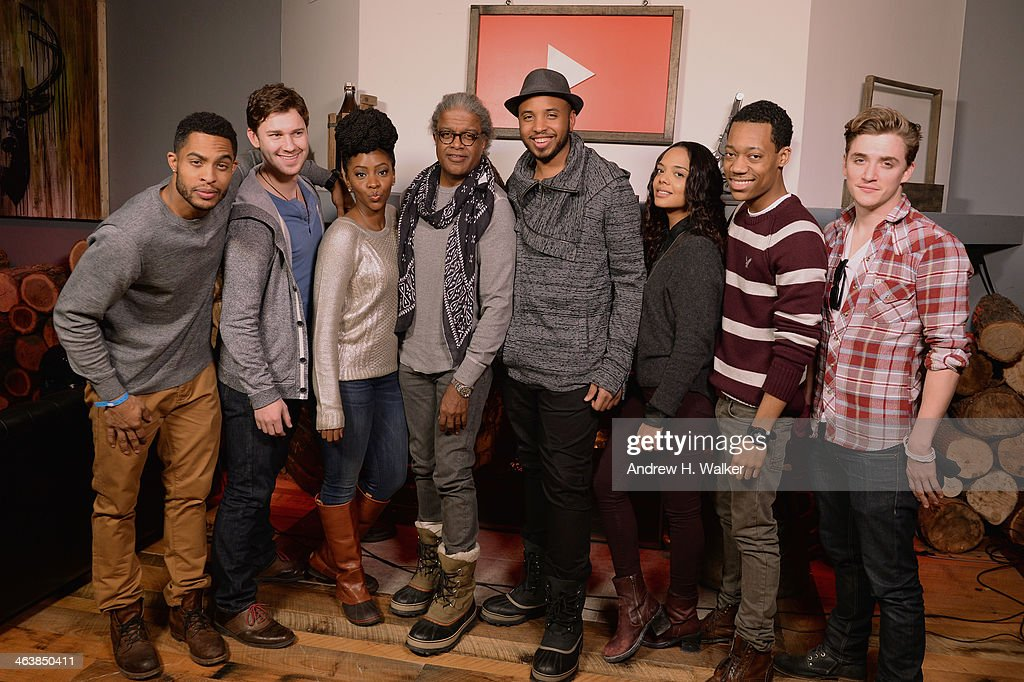 Actors Brandon P Bell, Justin Dobies, Teyonah Parris, director Justin Simien, Tessa Thompson, Tyler James Williams and Kyle Gallner attends the YouTube 'Dear White People' Reception on January 20, 2014 in Park City, Utah.