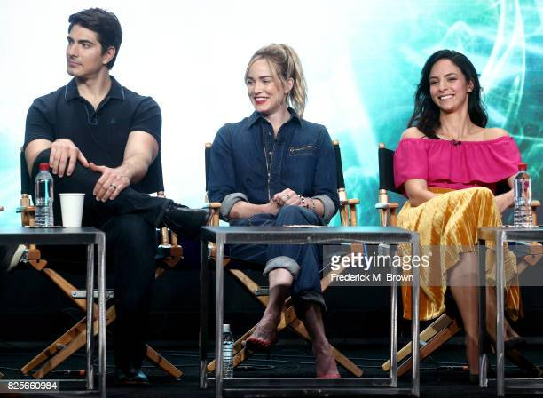 Actors Brandon Routh Caity Lotz Tala Ashe of 'DC's Legends of Tomorrow' speak onstage during the CW portion of the 2017 Summer Television Critics...