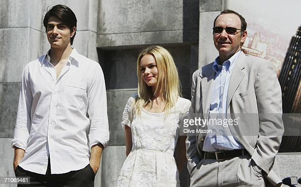 Actors Brandon Routh Kate Bosworth and Kevin Spacey attend a Red Bull Racing and Superman Returns event prior to the Monaco Formula One Grand Prix at...