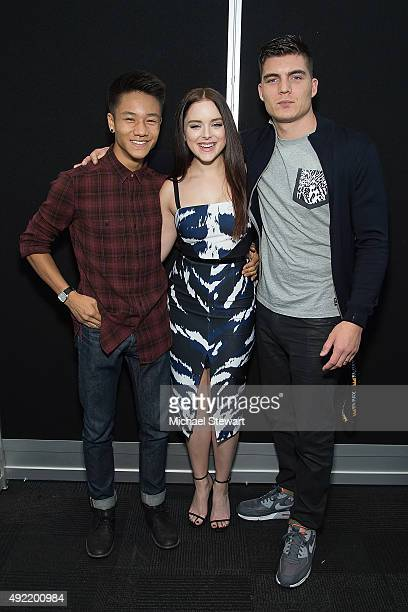 Actors Brandon Soo Hoo Madison Davenport and Zane Holtz pose in the press room for Marvel's From Dusk till Dawn The Series during New York ComicCon...