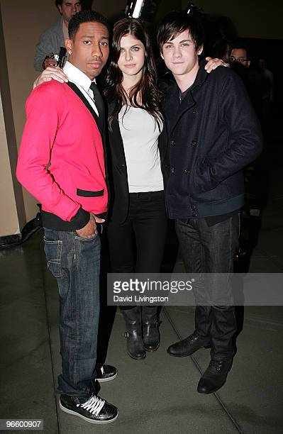 Actors Brandon T Jackson Alexandra Daddario and Logan Lerman attend a fan meet and greet for 'Percy Jackson the Olympians The Lightning Thief' at...