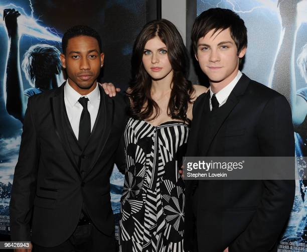 Actors Brandon T Jackson Alexandra Daddario and Logan Lerman attend the premiere of 'Percy Jackson The Olympians The Lightning Thief' at AMC Lincoln...