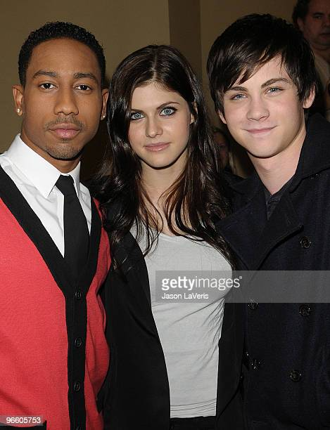 Actors Brandon T Jackson Alexandra Daddario and Logan Lerman attend the 'Percy Jackson The Olympians The Lightning Thief' cast appearance at Hot...