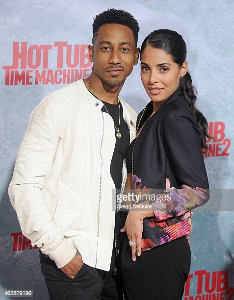 Actors Brandon T Jackson and Denise Xavier arrive at the Los Angeles premiere of Hot Tub Time Machine 2 at Regency Village Theatre on February 18...