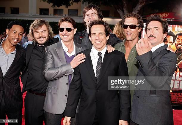 Actors Brandon T Jackson Jack Black Tom Cruise Bill Hader Ben Stiller Matthew McConaughey and Robert Downey Jr arrive on the red carpet of the Los...