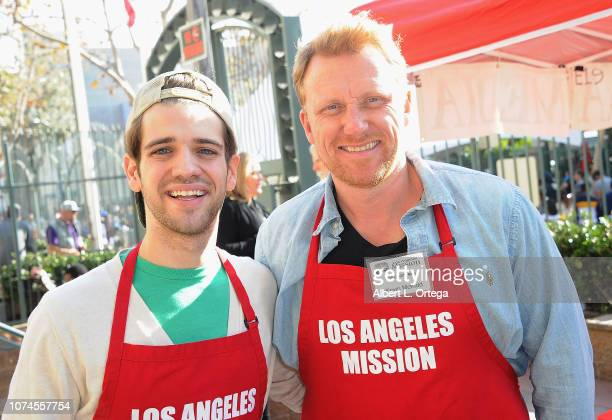 Actors Brandon Tyler Russell and Kevin McKidd attend the Los Angeles Mission Christmas On Skid Row held at Los Angeles Mission on December 21 2018 in...