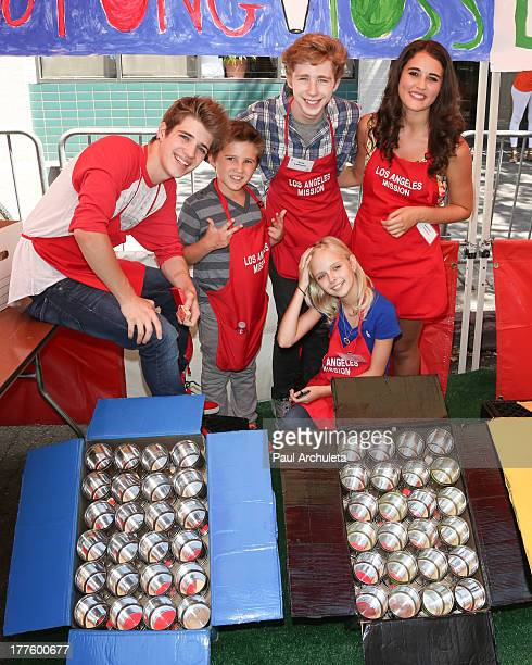 Actors Brandon Tyler Russell Tyler Champagne Joey Luthman Jessica Belkin and Lauren Franco attend the Los Angeles Mission Summer Street Fair for Skid...
