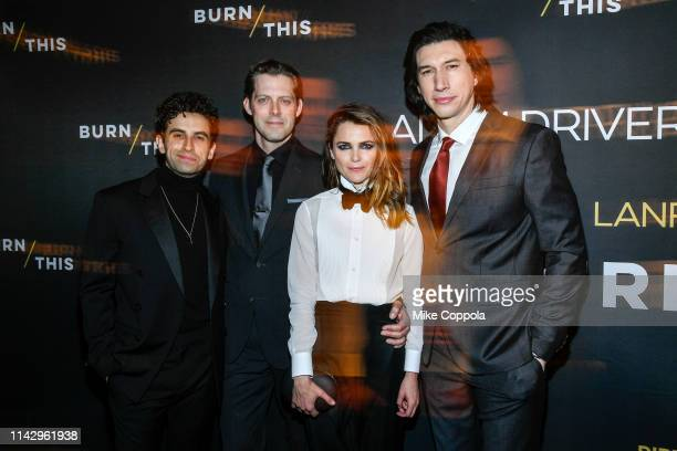 Actors Brandon Uranowitz David Furr Keri Russell and Adam Driver attend Burn This Opening Night at Hudson Theatre on April 15 2019 in New York City