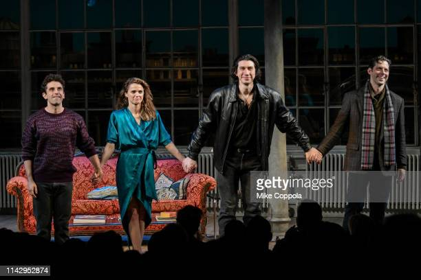 Actors Brandon Uranowitz Keri Russell Adam Driver and David Furr take a curtain call during Burn This Opening Night at Hudson Theatre on April 15...