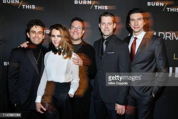 Actors Brandon Uranowitz Keri Russell Director Michael Mayer David Furr and Adam Driver attend Burn This Opening Night at Hudson Theatre on April 15...