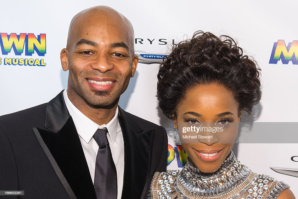 Actors Brandon Victor Dixon (L) and Jalisia LeKae attend the after party for the Broadway opening night for 'Motown: The Musical' at Roseland Ballroom on April 14, 2013 in New York City.