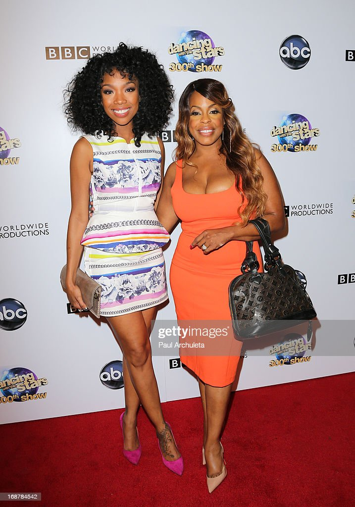 Actors Brandy Norwood (L) and Niecy Nash (R) attend the 'Dancing With The Stars' 300th episode after party on May 14, 2013 in Los Angeles, California.