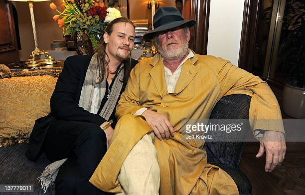 Actors Brawley Nolte and Nick Nolte pose at the premiere of HBO's 'Luck' at THEhotel at Mandalay Bay Resort and Casino on January 26 2012 in Las...