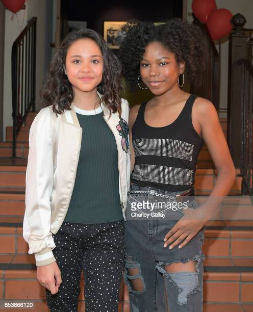 Actors Breanna Yde and Riele Downs at Nickelodeon's 'Escape From Mr Lemoncello's Library' premiere event at Paramount Studios on September 25 2017 in...