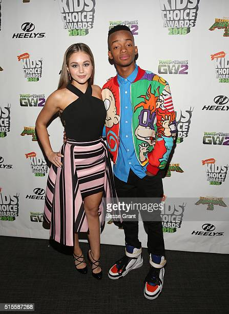 Actors Brec Bassinger and Coy Stewart attend the 2016 KCA International/Regional Awards at The Forum on March 10 2016 in Inglewood California