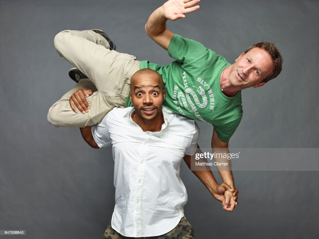 Actors Breckin Meyer and Donald Faison from 'Robot Chicken' are photographed for Entertainment Weekly Magazine on July 22, 2016 at Comic Con in the Hard Rock Hotel in San Diego, California. PUBLISHED