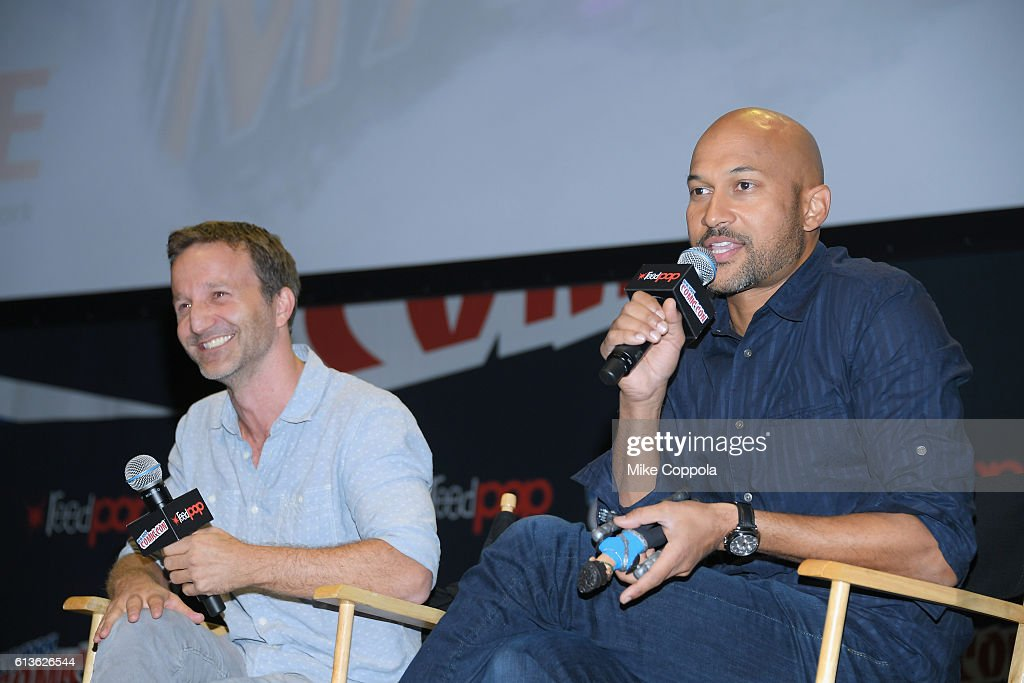 Actors Breckin Meyer (L) and Keegan-Michael Key attend the SuperMansion panel on October 9, 2016 at Hammerstein Ballroom in New York City.