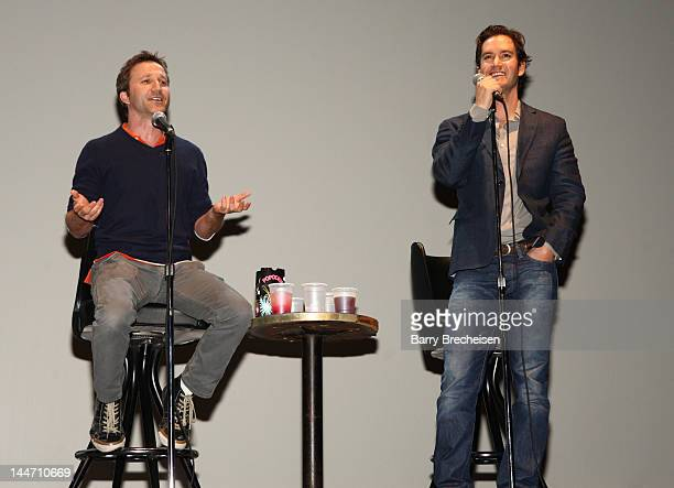 Actors Breckin Meyer and MarkPaul Gosselaar attend the 'Franklin Bash' season 2 screening at The Vic Theater on May 17 2012 in Chicago Illinois