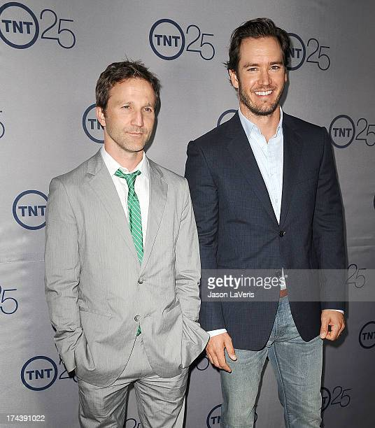 Actors Breckin Meyer and MarkPaul Gosselaar attend TNT's 25th anniversary party at The Beverly Hilton Hotel on July 24 2013 in Beverly Hills...