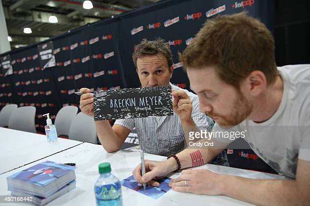 Actors Breckin Meyer and Seth Green attend the Adult Swim Signing Robot Chicken Adult Swim at New York Comic Con at Jacob Javitz Center on October 10...