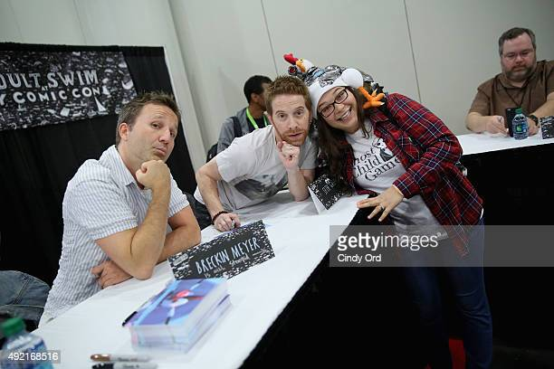 Actors Breckin Meyer and Seth Green greet fans at the Adult Swim Signing Robot Chicken Adult Swim at New York Comic Con at Jacob Javitz Center on...