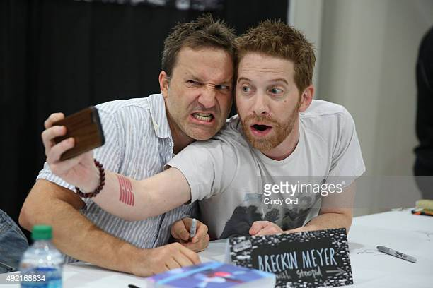 Actors Breckin Meyer and Seth Green take a selfie at the Adult Swim Signing Robot Chicken Adult Swim at New York Comic Con at Jacob Javitz Center on...