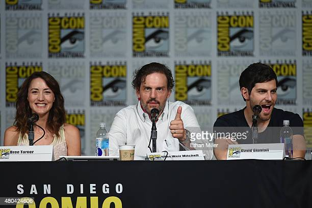 Actors Bree Turner Silas Weir Mitchell and David Giuntoli attend the Grimm season five panel during ComicCon International 2015 at the San Diego...