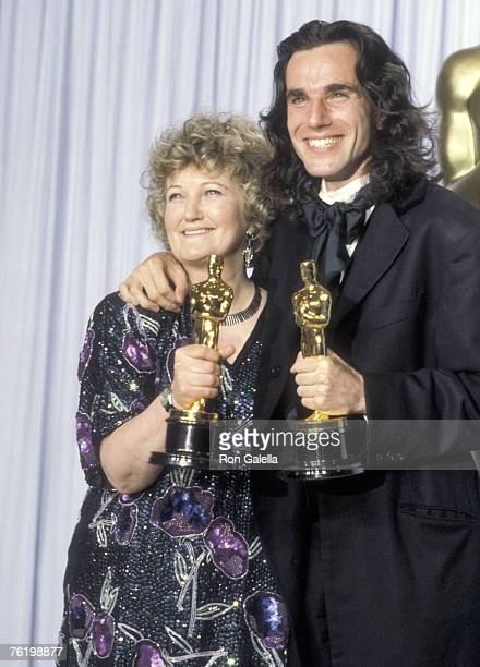 Actors Brenda Fricker and Daniel Day Lewis attend the 62nd Annual Academy Awards on March 26 1990 at Dorothy Chandler Pavilion in Los Angeles...