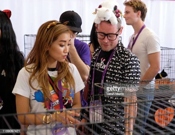 Actors Brenda Song and Macaulay Culkin attend the adoption fair during 2019 CatCon at Pasadena Convention Center on June 29, 2019 in Pasadena,...