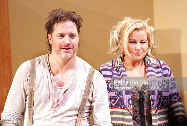 Actors Brendan Fraser and Jennifer Coolidge and attend the Broadway opening night of Elling at the Ethel Barrymore Theatre on November 21 2010 in New...