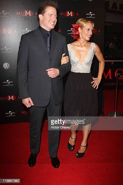 Actors Brendan Fraser and Maria Bello attends the premiere of 'The Mummy Tomb of the Dragon Emperor' at the Cinemark Reforma on July 29 2008 in...