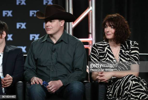 Actors Brendan Fraser Anna Chancellor of the television show TRUST speak onstage during the FOX/FX portion of the 2018 Winter Television Critics...