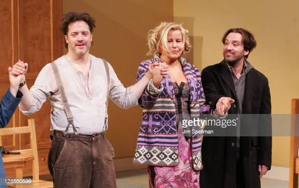 Actors Brendan Fraser Jennifer Coolidge and Jeremy Shamos attend the Broadway opening night of Elling at the Ethel Barrymore Theatre on November 21...