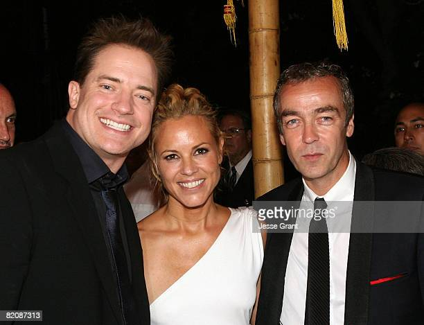 Actors Brendan Fraser Maria Bello and John Hannah attend the after party for the American premiere of 'The Mummy Tomb Of The Dragon Emperor' at the...