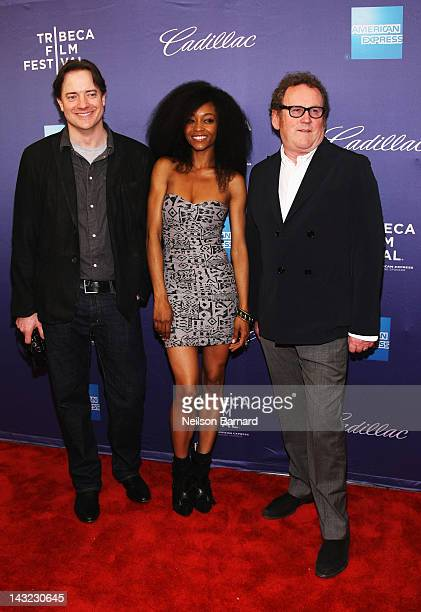Actors Brendan Fraser Yaya DaCosta and Colm Meaney walk the red carpet at the Whole Lotta Sole Premiere the 2012 Tribeca Film Festival at the School...