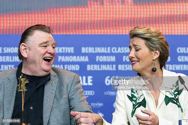 Actors Brendan Gleeson and Emma Thompson attend the 'Alone in Berlin' press conference during the 66th Berlinale International Film Festival Berlin...