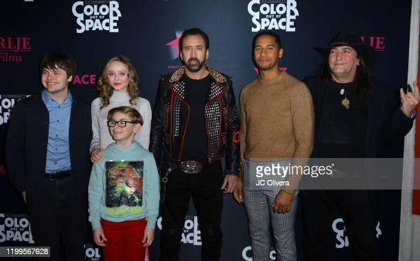 Actors Brendan Meyer Madeleine Arthur Julian Hilliard Nicolas Cage Elliot Knight and director Richard Stanley attend the special screening of Color...