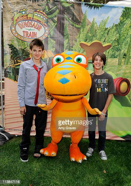 Actors Brendon Eggertsen and Brandon Tyler Russell attends the Jim Henson Company and PBS SoCal Dinosaur Train Event at Los Angeles Live Steamers...